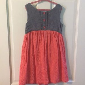 Little girls chambray and eyelet dress